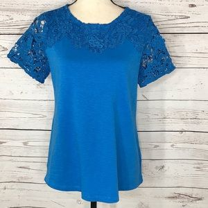 Charter Club Top Floral Crochet Lace Stretch Blue